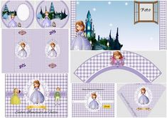 Princesa Sofía en Fondo a Cuadros: Kit para Imprimir Gratis.