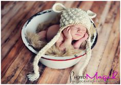 Newborn in basin Etsy listing at http://www.etsy.com/listing/100043623/mary-had-a-little-lamb-hat-newborn-hat