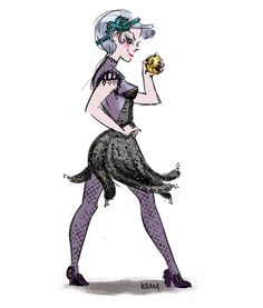 Disney Villains re-imagined as Flappers from the 1920's: Ursula from the Little Mermaid.