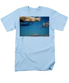 Moon Men's T-Shirt (Regular Fit) featuring the photograph Moon Between The Clouds by Cynthia Guinn