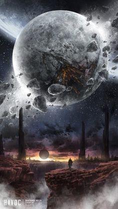 Madcat's favorite Art – Galaxy Art Wallpaper Earth, Planets Wallpaper, Wallpaper Space, Galaxy Wallpaper, Fantasy Art Landscapes, Fantasy Landscape, Fantasy Artwork, Space Artwork, Moon Photography