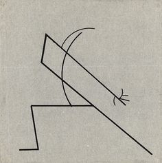 Wassily Kandinsky, Two large parallel lines supported by simple curve