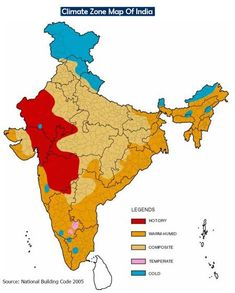 The whole of India has a tropical monsoonal climate, since the greater part of the country lies within the trophies, and the climate is influenced by the monsoons.     The position of the mountain ranges and direction of the rain-bearing winds are the two main factors that determine the climate of India     Alternating seasons is the chief characteristic of India's Climate.