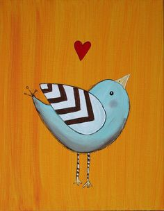 Original Bird Painting on 11 x 14 inch Canvas board by melbean