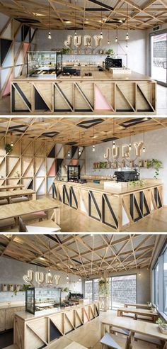 Modern coffee shop - wood Design Restaurant Coffee Shop – 9 unique coffee shops from new zealand and australia 16 – http: Coffee Bar Design, Coffee Shop Interior Design, Restaurant Interior Design, Modern Interior Design, Interior Shop, Interior Ideas, Design Shop, Café Design, Wood Design
