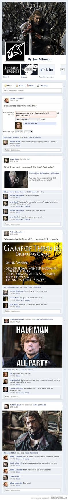 If the characters of Game of Thrones had Facebook…