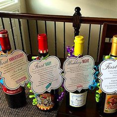 """Set of 4 """"Firsts"""" for wedding/bridal shower gift. Perfect gift for newlyweds. Poems included on tags for various milestones within a new couples marriage. (For example: First Fight, First Baby, First Time He Is Wrong, etc.)"""