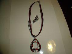 Vintage Red & Black Pendant/Necklace & Black /Silver Earrings for pierced ears | eBay
