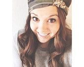 Camo head wrap - brown tan army green - wide stretch headband with sequins knot