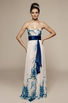 Strapless gown with peacock blue abstract flora. Seems Art Deco inspired to me. :)