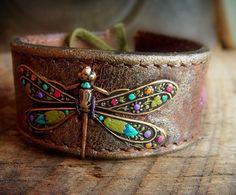 Vintage Brass Dragon Fly in Garden Flower Colors on Leather Cuff Bracelet. $32.00, via Etsy.