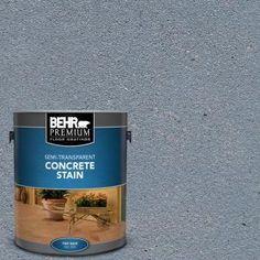 Visit The Home Depot to buy BEHR Premium Dark Coal Semi-Transparent Concrete Stain 85001 Concrete Stain Colors, Concrete Cover, Acid Stained Concrete, Concrete Coatings, Painting Concrete, Stain Concrete, Painting Walls, Concrete Porch, Interiors