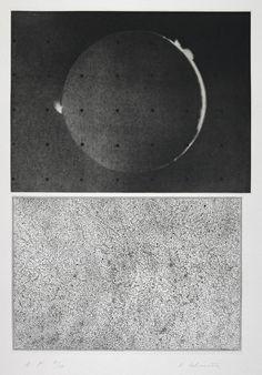 Jupiter Moon - Constellation (1983)  -Mezzotint and etching on paper -  image (upper): 146 x 193 mm image (lower): 125 x 185 mm - Vija Celmins