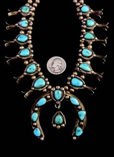 160g Vintage Old Pawn Navajo Sterling Silver Squash Blossom Necklace w Brilliant Bisbee Turquoise! Compact Old Piece w Great Details!