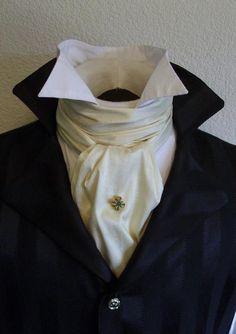Beau Brummel perfected The Art of Tying the Cravat in the regency era. Victorian Mens Fashion, Victorian Shirt, Victorian Mens Clothing, Victorian Outfits, Feist Style, Cravat Tie, Ascot Ties, Leggings, Shades Of Grey