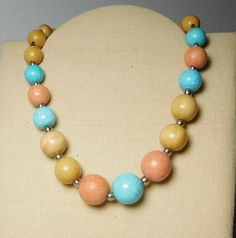 Pastel Color Beaded Choker Necklace Large Painted Wood Beads Gold Tone Filler Beads Light Green Salmon Color Light Butterscotch Vintage by LandofBridget on Etsy
