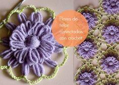 Flores de telar conectadas con cadeneta de crochet tutorial