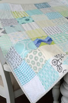 low volume baby quilt by croskelley, via Flickr