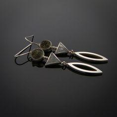 Gravity Earrings- Sterling Silver, Meteorite, and Druzy Quartz.