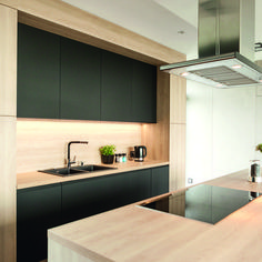 EGGER sustainable wood-based products were used in Kitchen Underwood for a durable finish. Kitchen Dining, Kitchen Cabinets, Natural Wood Finish, Black Kitchens, Modern Kitchen Design, Black Wood, Side Extension, Gladstone, Interior Design