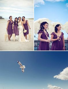 Purple bridesmaid dresses with ivory parasols.
