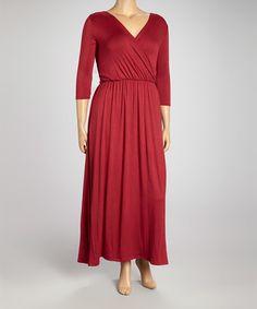 Love this Burgundy Surplice Dress - Plus by J-MODE on #zulily! #zulilyfinds