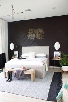 parquet point de Hongrie mural en bois laqué chambre coucher style nordique tendance #interiors #design