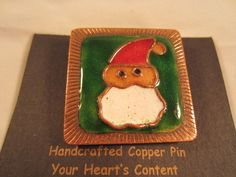 """NEW ON CARD Christmas SANTA CLAUS Enamel COPPER Square PIN Handcrafted 1.5""""x1.5"""" #YourHeartsContent"""