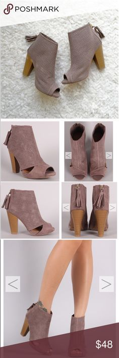 "⭐️LAST SIZE 5.5⭐️NIB Taupe Cut-Out Ankle Booties NIB Taupe Cut-Out Ankle Booties. These versatile booties feature a perforated vegan suede with side cut-outs, peep toe, and a chunky stacked heel. Tassel pull on a gold back-zip closure at the heel. Lightly padded insole, approx 4"" heel. FITS TRUE TO SIZE. Available in 5.5 No Trades and No PaypalPrice is firm unless bundled, also available in black, see my closet for black listing. Shoes Ankle Boots & Booties"
