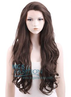 """26"""" Long Wavy Dark Brown Lace Front Synthetic Wig"""