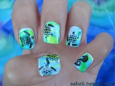 Nail ideas liked by All Creations Salon - Nails - Clou Turtle Nail Art, Turtle Nails, Cruise Nails, Vacation Nails, Crazy Summer Nails, Horse Nails, Palm Tree Nails, Sea Nails, Animal Nail Art