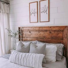 Cozy farmhouse bedroom styled by - we LOVE the beautiful wood . Cozy farmhouse bedroom styled by - we LOVE the beautiful wood headboard with the lush, light colored textiles. Our Olive Stems are the perfect piece for the nightstand! Bedroom Black, Modern Bedroom, Contemporary Bedroom, Rustic Vintage Decor, Farmhouse Master Bedroom, Bedroom Styles, Bedroom Ideas, Bedroom Designs, Budget Bedroom