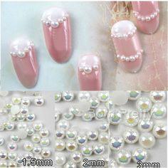 $3.24 50Pcs Colorful Half Pearl Nail Art Decoration Flatback Nail Charms for Nail Manicure - BornPrettyStore.com