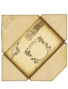 Harry Potter Envelope. If printed on 8 1/2 x 11 this will fit a 8 1/2 x 5 1/2 invitation folded in half.  Printed on plain copy paper.