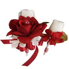2pc set Pin corsage and Boutonniere(BCset-36) rose & hydrangea in Apple red and white