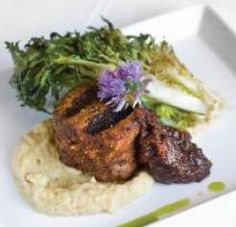 Pork Filet with Roasted Cauliflower Puree, Louisiana Fig Compote and Grilled Frisse.... Yum!