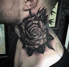 Rose tattoos have always been popular because it contains many connotations in different cultures. The rose tattoo design appeals to both men and women, and they blend well with other tattoos to give you the ideal look, whether it's women or men. Tiny Rose Tattoos, Rose Tattoos For Men, Tattoos For Guys, Tattoos For Women, Men Tattoos, Tribal Tattoos, Best Neck Tattoos, Badass Tattoos, Sleeve Tattoos