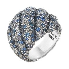 David Yurman Vintage David Yurman Sapphire & Diamond Hampton Cable... (€3.740) ❤ liked on Polyvore featuring jewelry, rings, no color, cable ring, dome ring, long rings, diamond accent rings and vintage diamond ring