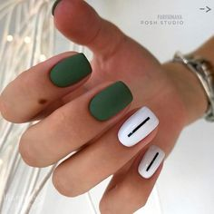 140 amazing spring nail art designs ideas to try – page 22 Minimalist Nails, Green Nails, White Nails, Spring Nail Art, Manicure E Pedicure, Nail Polish Strips, Nagel Gel, Nail Decorations, Trendy Nails
