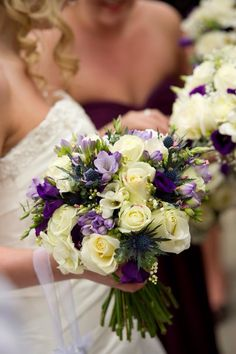 Ivory Roses and lilac Freesia, Thistle and Purple Lisanthus Hand-tied bouquet by Tracy Qs Cornwall Wedding Flowers