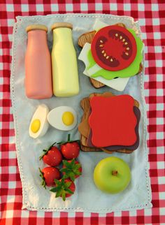 Wooden Play Food Picnic Set: Lunch for Two, Sandwiches, Drinks, Fruit, Egg. $75.00, via Etsy.