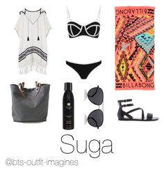 """""""Beach day with Suga"""" by bts-outfit-imagines on Polyvore featuring South Beach, Forever 21, Billabong, The Row, Independent Reign, Tory Burch, Soleil Toujours, women's clothing, women and female"""