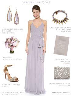 Gray Maxi Dress for bridesmaid dresses or wedding attire. #grey #Bridesmaids