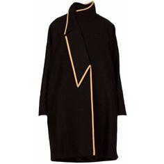 GR LONDON PARIS - Asymmetric A-Line oversized Coat Jeanne (12.640 NOK) ❤ liked on Polyvore featuring outerwear, coats, black, asymmetrical collar coat, collar coat, oversized collar coat, petite coats and a-line coats