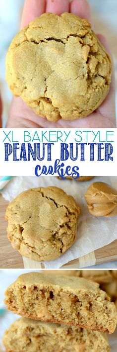 XL Bakery Style PB Cookies - these peanut butter cookies are HUGE and filled with peanut butter chips. We inhale these faster than I can make them! (Peanutbutter No Baking Cookies) Cookie Desserts, Just Desserts, Cookie Recipes, Delicious Desserts, Dessert Recipes, Yummy Food, Diabetic Desserts, Baking Cookies, Fudge Recipes