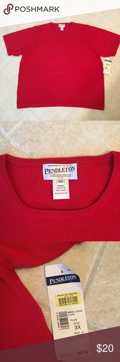 Pendleton red short sleeve top Super comfortable short sleeves top in size 3X. Brand new, I have two in the same red color, tag on one and were removed from the other. 100% cotton. Pendleton Tops Tees - Short Sleeve