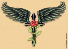 Cross Tattoos | wings cross and rose by ~gilrizzo on deviantART
