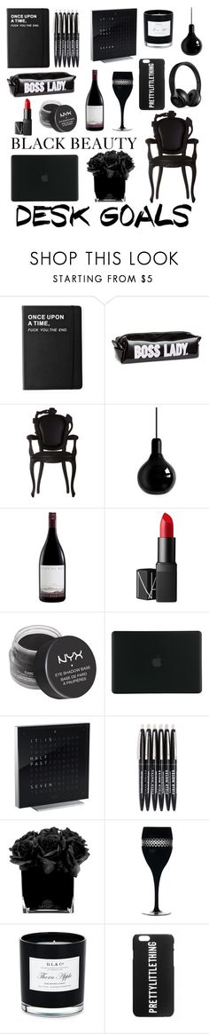 """DESK GOALS BLACK BEAUTY"" by fresina ❤ liked on Polyvore featuring interior, interiors, interior design, home, home decor, interior decorating, Killstar, Moooi, Mineheart and NARS Cosmetics"