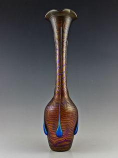 "Glamorous Bohemian Art Deco Glass Czech Cabinet Iridescent Vase 16 1/2"""