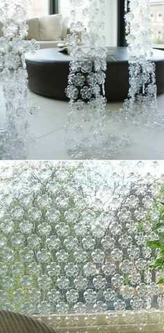 "Bottoms of soda bottles connected into a wall hanging.  I could see this in the garden as a suncatcher with colored glass marbles in the ""petals"" and centers to give it some weight and color."